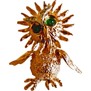 Bejewelled Owl Pin in 14k Yellow Gold ~ circa 1960's