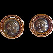 Roman Head Cuff Links in 18k Yellow Gold and Silver ~ circa 1970's