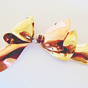 SOLD Hand Made Bow in 14k Two-Tone Gold with Rubies & Diamonds ~ circa 1940's