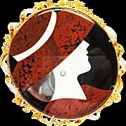 Inlaid Stone & Diamond Pin ~ circa late 80's