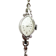 Elgin Watch with Diamonds in 14k White Gold ~ circa 1950's