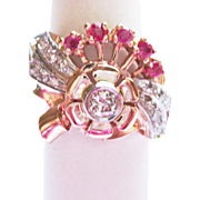 Diamond & Ruby Cocktail Ring in Pink Gold ~ circa 1930's