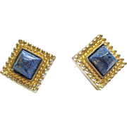 Fili Manageti Gold & Silver Earrings with Russian Lapis ~ circa 1980's