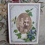 SOLD 1890's Victorian Photo Mat ~ Violet Flowers ~ 2 boys cabinet card