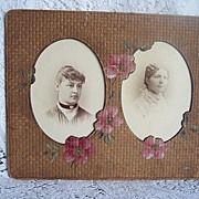 REDUCED 1890's Victorian Double Photo Frame ~ Cardboard & HP Roses