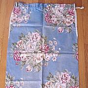Vintage Pink Roses Laundry Bag ~ bark cloth era floral cotton
