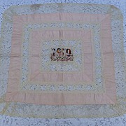 Vintage WW1 French Silk & Lace Pillow Cover or Table Topper