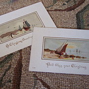 LOT 2 Nautical theme Victorian 1890's Christmas Gift Card
