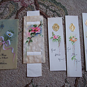 SALE LOT 5 Vintage Hand Painted Religious Bookmarks ~ Roses