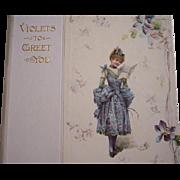 "SOLD 1900 era Book ~ ""Violets to Greet You"" ~ Nister, Poetry, color lithos, gift, va"