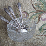 "SALE 4 Vintage Birks Sterling Demitasse Spoons ""London"" ~ plus Glass Salt Bowl"