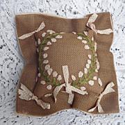 SALE 1910 era Pin Cushion Sachet ~ Pink Ribbon Embroidery