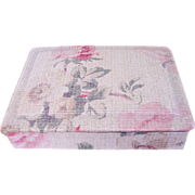 Vintage French Cretonne Rose Fabric Covered Sewing/Trinket/Jewelry Vanity Dresser Box, early .