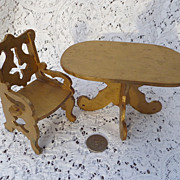 Vintage Doll House Furniture ~ Gold Painted Table & Chair
