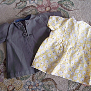 SALE 1930's Vintage Doll Clothes ~ Yellow Dress, Gray Coat