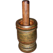 19th Century Turned and Painted Wood Mortar and Pestle