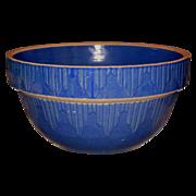 Dark Blue Yellow Ware Bowl w/Picket Fence Design