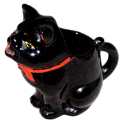 SALE 1950s Red Ware Black Kitty Creamer/Pitcher