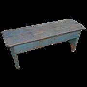 SOLD Two Plank Boot Jack End Antique Primitive Bench w/Original Paint