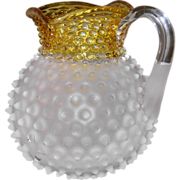SALE Hobbs Francis Ware Frosted Hobnail Yellow/Amber Square Top Lemonade/Cider Pitcher