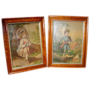 SALE Pair Birdseye Maple Framed Chromo-Lithographs of Children
