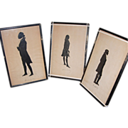 SOLD Three Standing Full Bodied Silhouettes: G. Washington, T. Jefferson & J. Marshal