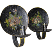 SOLD Pair Early 19th Century Hand Forged Hammered Tin Candle Sconces with Hand Painted Floral