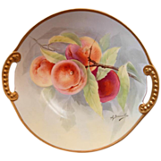 "SALE Limoges Hand Painted ""Peaches on a Branch"" Charger signed A. Bronssillon"