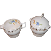 SALE American Limoges Creamer & Covered Sugar Bowl in Wheatfield Pattern by Triumph