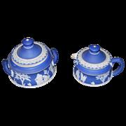 SALE Wedgwood Jasperware Creamer w/Sugar Bowl w/Lids