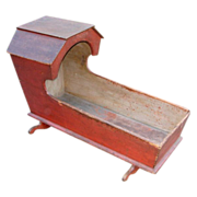 SALE Early 19th Century Hooded Cradle w/Original Red Paint