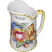 Vintage Pottery Syrup Pitcher