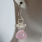 *  Baby Pink Onion briolette Chalcedony and moonstone earrings