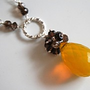 Yellow Crystal quartz and Smoky quartz necklace