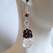 Crystal quartz heart briolette  and garnet earrings