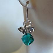 Paraiba blue quartz brilette and flashy Labradorite earrings