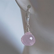 Pink Quartz onion briolette and sterling silver dangle earrings
