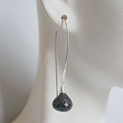 Blue Sapphire Long Drop Earrings