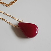 Smooth Ruby necklace with gold filled chain