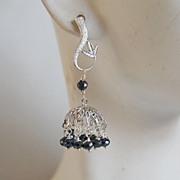 Blue Black Spinel small Chandelier earrings