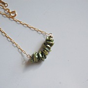 Green Keishi pearl necklace with gold filled chain