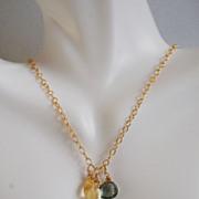 *  Green Mystic Quartz, Citrine and Eiffel tower Charm Necklace