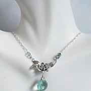 Sage Green Quartz and Mystic teal blue quartz flower pendant Necklace