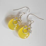 Gorgeous Yellow Chalcedony dangle Earrings