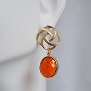 Bezel setting Glass oval Fire opal dangle earrings