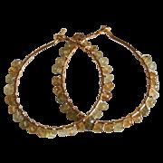 Rare shaded Grossular garnet Gold filled Hoop Earrings