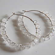 Sterling silver Hoop earrings with Moonstone