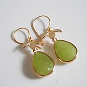 Olive Green gold framed glass stone dangle Earrings