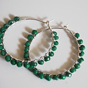 Sterling silver Hoop earrings with Genuine Emerald