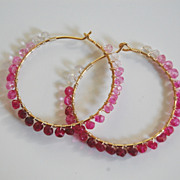 Genuine Shaded Ruby and Gold filled Hoop Earrings